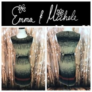 Emma & Michele Tan Black Red Sheath Dress